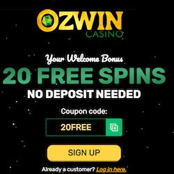 Ozwin casino 20 free spins 2021